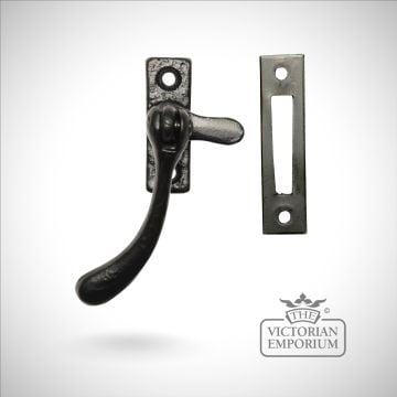 Black iron reversible casement fastener