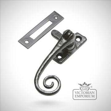 Black iron monkey tail casement fastener