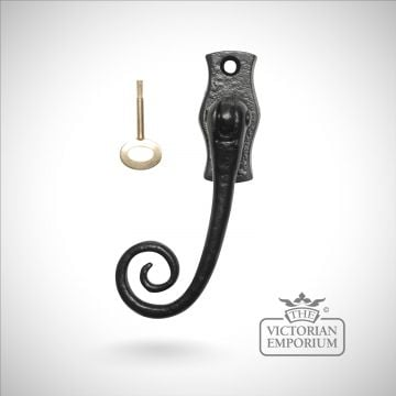 Black iron lockable fastener with monkey tail - Style 1