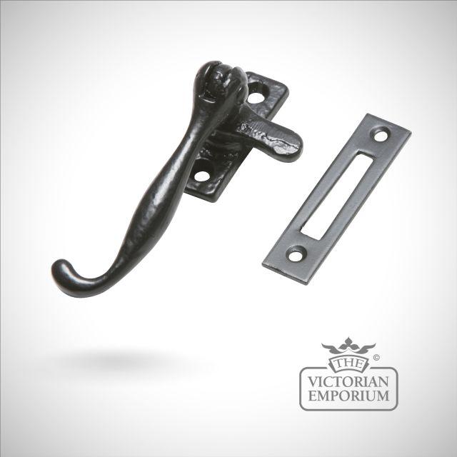 Traditional Black iron plain casement fastener