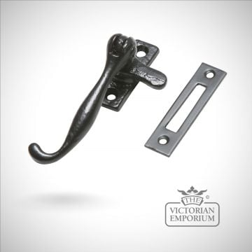 Traditional Black iron plain casement fastener