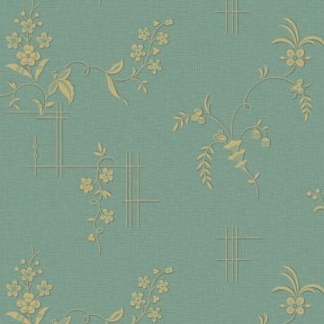 Two tone bamboo trellis and flower wallpaper - four colourways