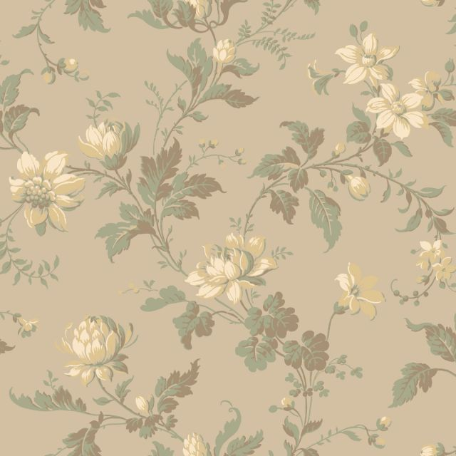 Blooms and leaves wallpaper in a choice of four colourways