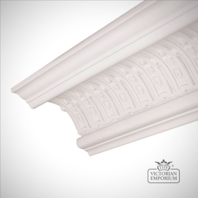 Ornate Regency coving with fluted design featuring husks