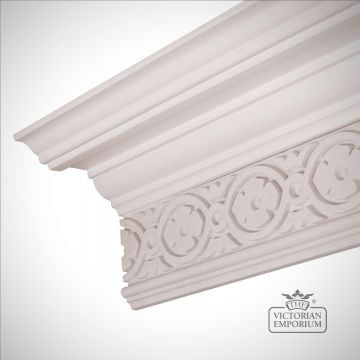Ornate Regency coving with wall bank in geometric pattern