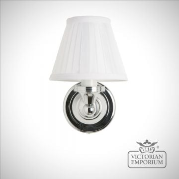Classic simple bathroom light with chrome base & white fine pleated shade