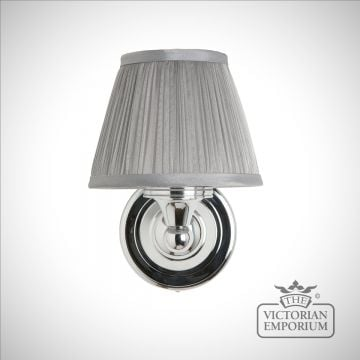 Classic simple bathroom light with chrome base & silver chiffon shade