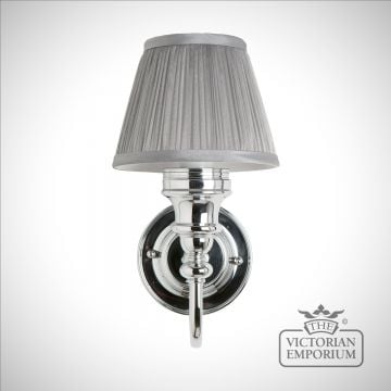 Classic bathroom light with chrome base, silver chiffon shade and finial