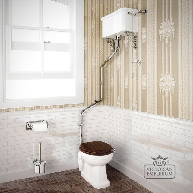 High-level WC Suite with high-level angled flush pipe kit