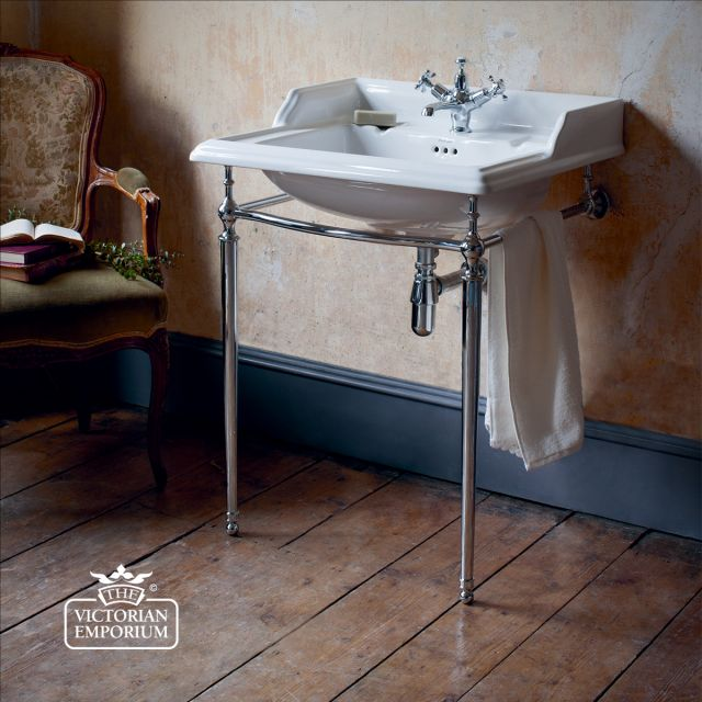 Classic 65cm Basin with plain chrome basin stand