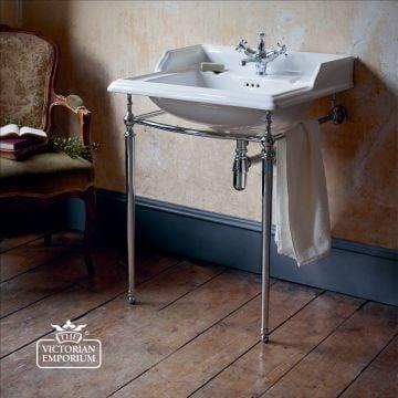 Classic 65cm Basin with plain chrome basin stand