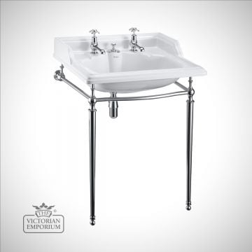Classic 65cm Basin with invisible overflow in plain chrome basin stand