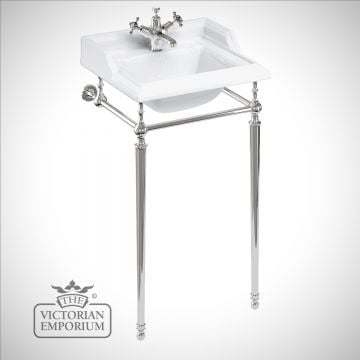 Classic 50cm Basin with plain chrome basin stand