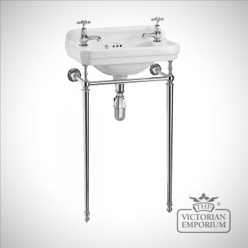 Classic Edwardian Cloakroom Basin with plain chrome basin stand