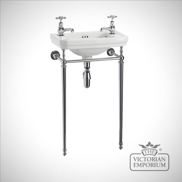 Classic Victorian Cloakroom Basin with plain chrome basin stand