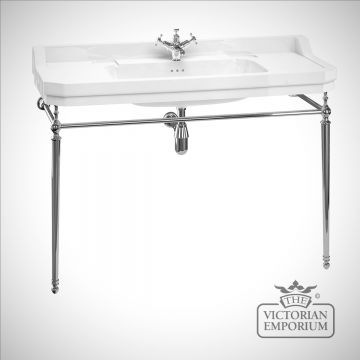 Wide Edwardian Basin on plain chrome washstand