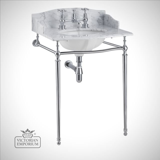 Classic Georgian style marble washstand top with inset basin and simple chrome stand