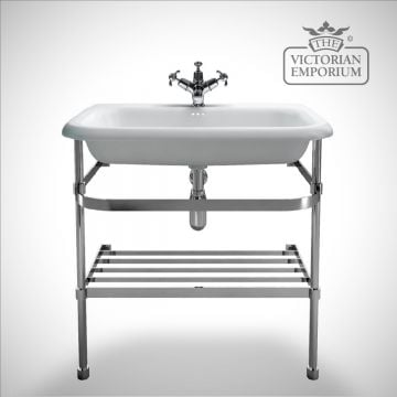 Roll top basin with stainless steel stand in a choice of sizes