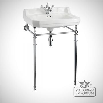 Edwardian Classic 56cm Basin on plain chrome stand
