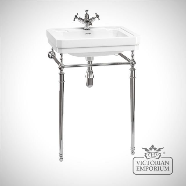 Classic plain 57.5cm Basin on plain chrome stand