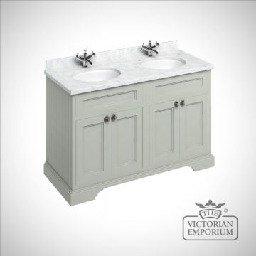 Freestanding 130cm wide Vanity Unit with worktop and 2 inset basins