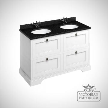 Freestanding 130cm wide Vanity Unit with Drawers, worktop and 2 inset basins