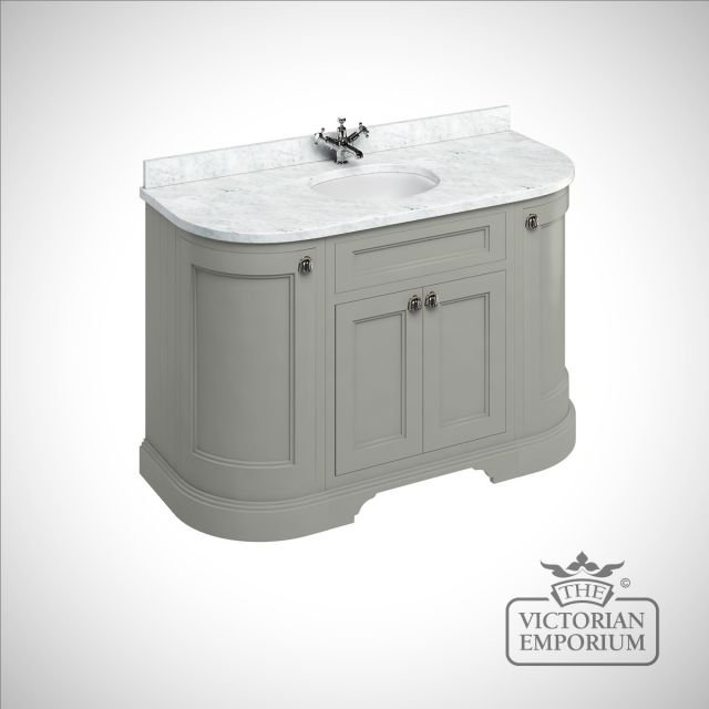 Freestanding 134cm wide curved Vanity Unit with Drawers, worktop and 1 inset basin