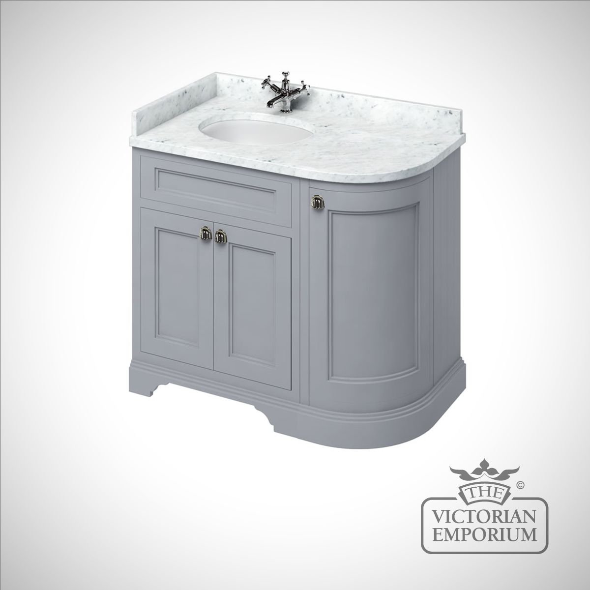 Freestanding 100cm Wide Curved Corner Vanity Unit With Drawers Worktop And 1 Inset Basin