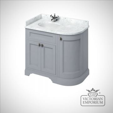 Freestanding 100cm wide curved corner Vanity Unit with Drawers, worktop and 1 inset basin