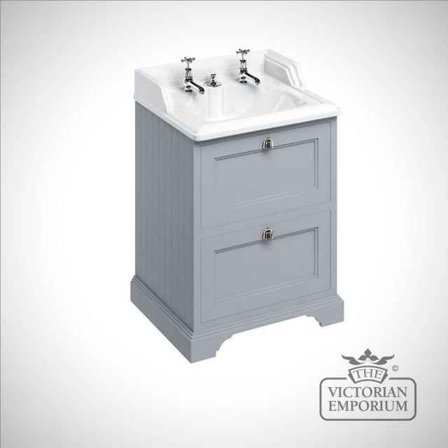 Freestanding 65cm wide Vanity Unit with Drawers with classic invisible overflow basin