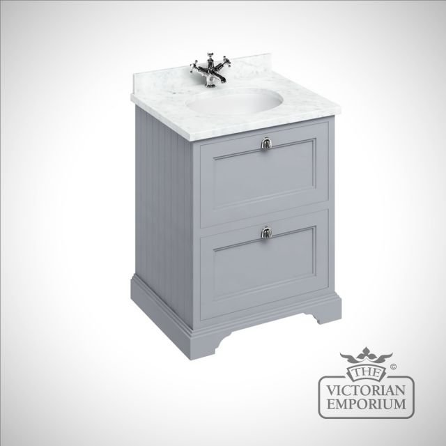 Freestanding 65cm wide Vanity Unit with drawers, worktop and inset basin