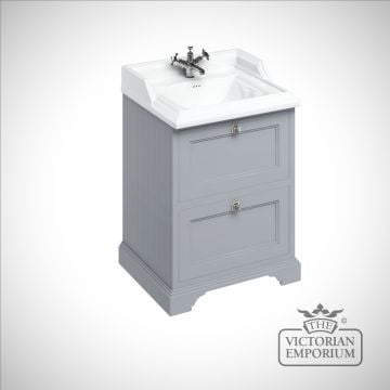 Freestanding 65cm wide Vanity Unit with drawers and classic basin