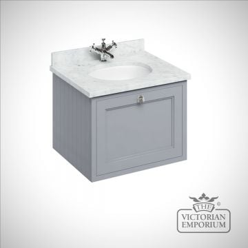 Wall Hung 65 Vanity Unit single drawer unit with granite worktop with integrated basin