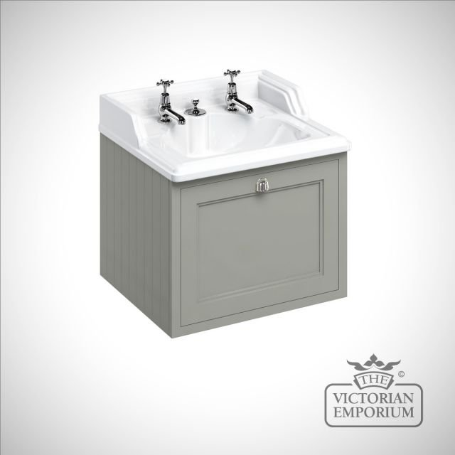 Wall hung 65cm Vanity Unit single drawer unit with invisible overflow sink