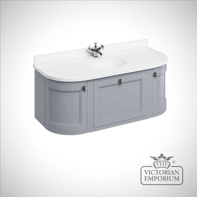Wall Hung 134cm Curved Vanity unit with choice of colours and worktops with integrated white basin