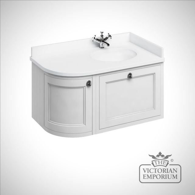 Wallhung 100cm wide curved corner Vanity Unit with Drawers, worktop and 1 inset basin