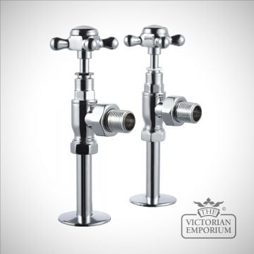 Angled heated towel rail valves in chrome