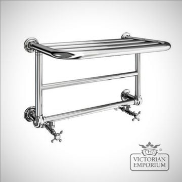 Aldwych heated towel shelf - 640x404mm in a chrome finish