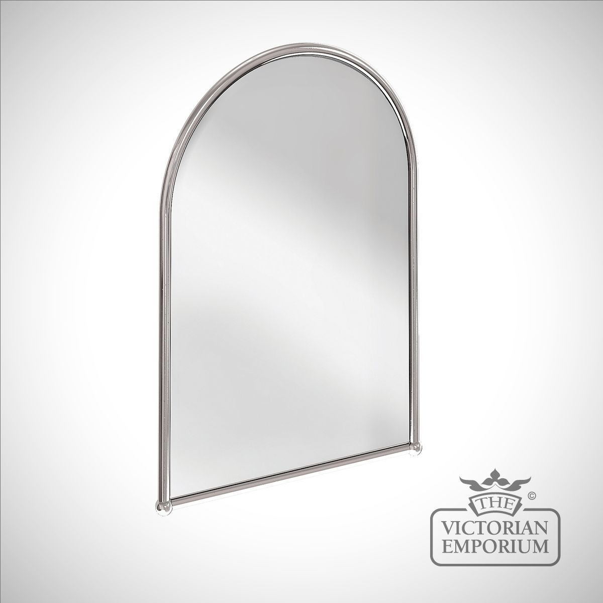 Simple arched bathroom mirror in chrome