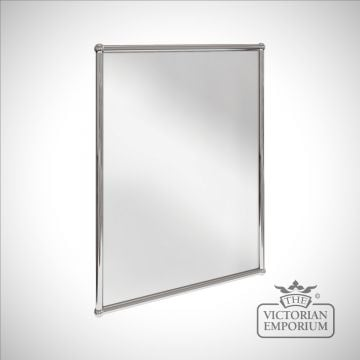 Simple rectangular bathroom mirror in chrome