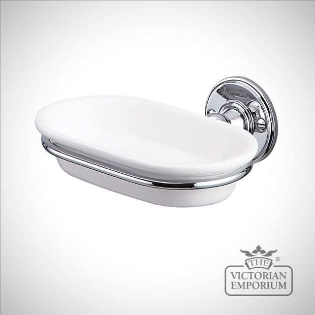Chrome and porcelain soap dish
