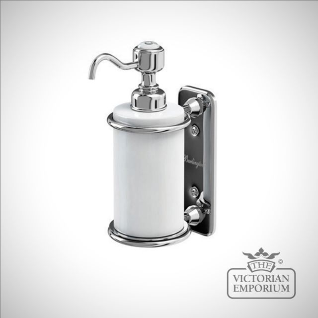 Chrome and porcelain wall mounted soap dispenser