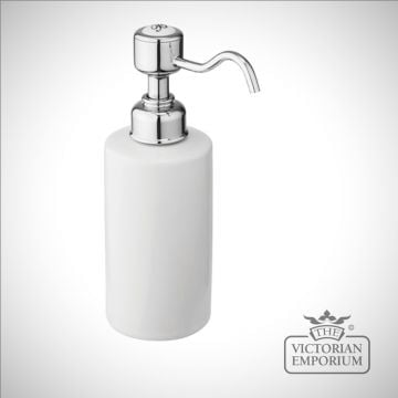 Chrome and porcelain surface mounted soap dispenser
