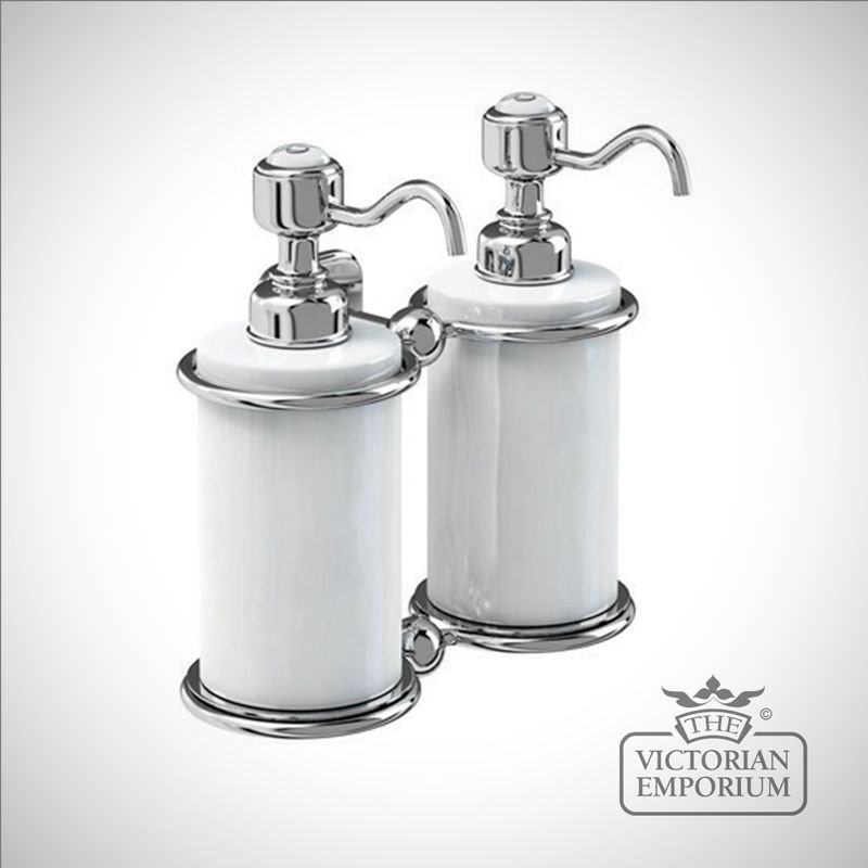 Chrome and porcelain surface mounted double soap dispenser bathroom accessories Traditional bathroom accessories chrome