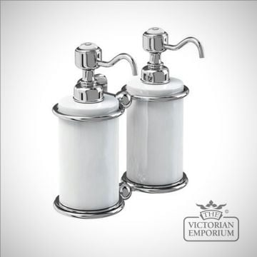 Chrome and porcelain surface mounted double soap dispenser