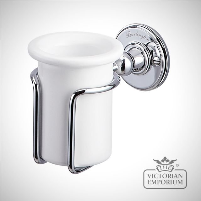 Chrome and porcelain toothbrush holder