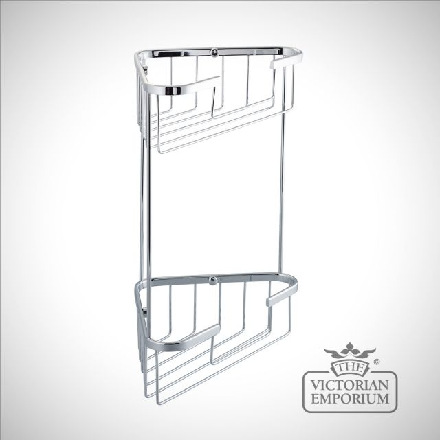 Large double tier corner wire soap caddy