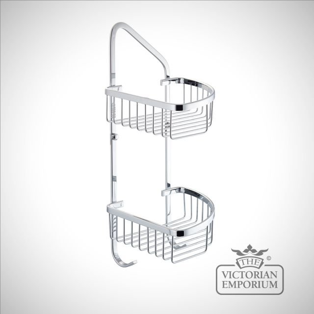 Very tall double tier corner wire soap caddy
