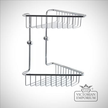 Double tier half corner wire soap caddy