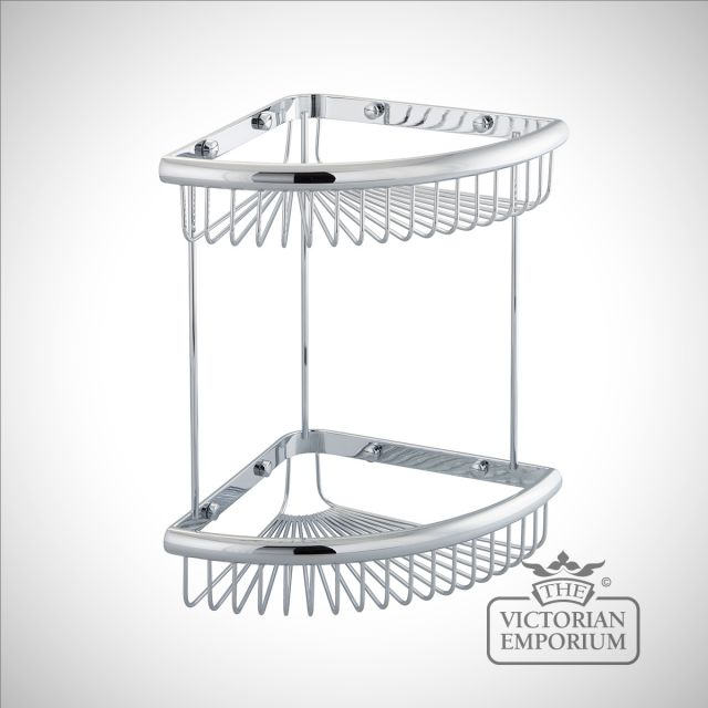 Double tier corner wire soap caddy with large trays